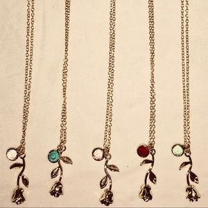Jewelry - Beautiful Birthstone Rose Necklaces